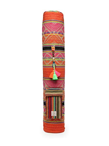 The House of Tara - Multicolour Red Handloom Fabric Yoga Mat Bag Cover with Tassel Embelishment for Men and Women (B07R39Q5CB) Amazon Price History, Amazon Price Tracker