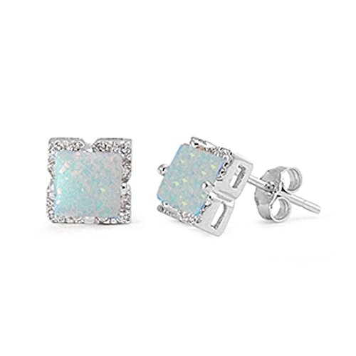 Halo Stud Post Earring Princess Cut Square Created White Opal Round Simulated Cubic Zirconia 925 Sterling Silver