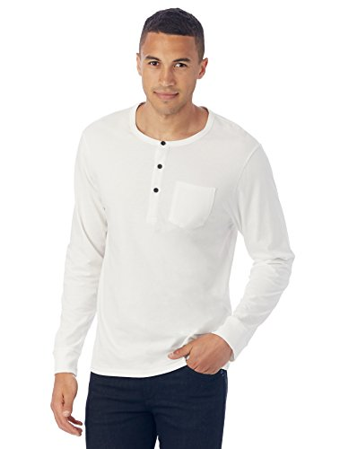Alternative Men's Heathered Classic Henley With Pocket, White, Large