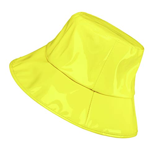 Women's Rain Hats Waterproof Rain Hat Wide Brim Bucket Hat Rain Cap (YM001-YE) - Large Bucket Brim