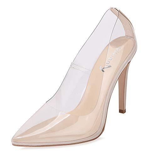 Pointy Toe Stiletto Heel - vivianly Sexy High Heels Pointy Toe Pumps Transparent Stiletto Cinderella Shoes for Women Nude