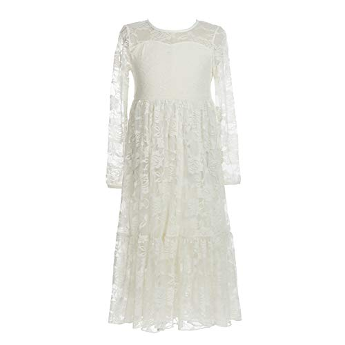 - belababy 5T Flower Girls Ivory Lace Dress in Beach Wedding