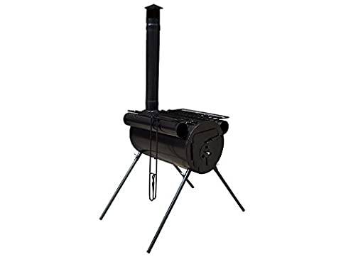 Camping Stove Military Style Portable Heavy Duty Steel Construction BBQ Cooking Backpacking Grill Griller Smoker Heater Picnic Outdoor Patio Burner Charcoal Log Wood Stove