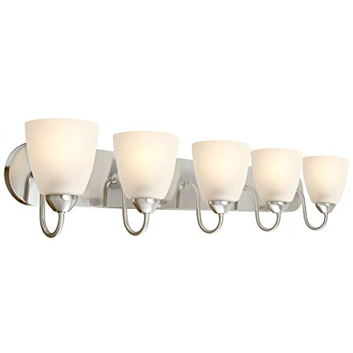 Kira Home Armada 36 5-Light Modern Vanity/Bathroom Light with Brushed Nickel Finish and Frosted Glass Shades