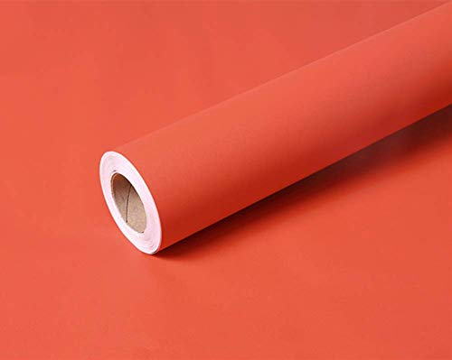 (Temall Solid Color Frosted Contact Paper Self Adhesive Wallpaper Waterproof Shelf Drawer Liner Cabinet Sticker 15.6 inch by 9.8 Feet (Orange))