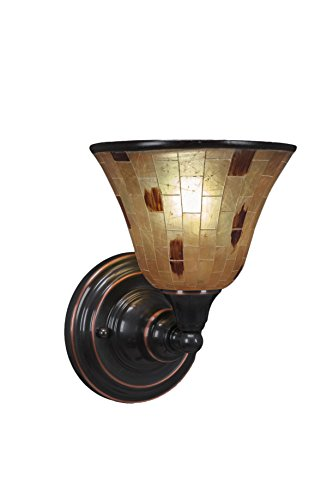 Toltec Lighting 40-BC-705 Wall Sconce with 7″ Penshell Resin Shade, Black Copper Finish