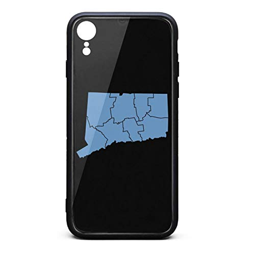 Phone Case for iPhone Xr Hippie State Map of Connecticut by Counties Tempered Glass Black Anti-Scratch TPU Rubber Bumper Shock Skin for Woman Back Cover