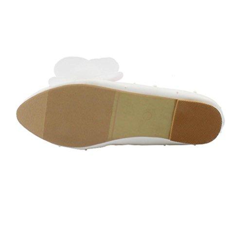 casual donna QPYC Ladies scarpe da da sposa damigella scarpe sposa ping singole d'onore piatto piatto Butterfly Lace cristallo da white with scarpe con 6Uqwr6d