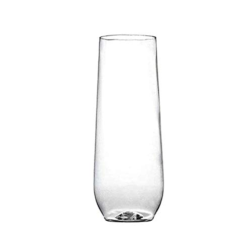 Plastic Champagne Flutes - 64 Pcs Disposable Fancy Stemless Champagne Glasses - 9 oz Elegant Unbreakable Party Cocktail Clear Wine Glass for Wedding, Mardi Gras, Birthday Parties & All Occasions
