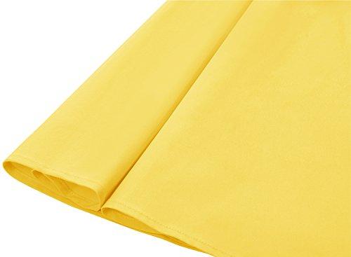 Sencillo De Corto Timormode Elegante Vestido Rockabilly Mujer Sólido Yellow Color Fiesta Vintage Y CZw0xqOw