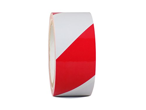 WOD SST-618 Red & White Durable Hazard Striped Safety Warning Tape - High-Visibility Ideal For Walls, Floors, Equipment (Available in Multiple Sizes & Colors): 2 in. X 18 yds. (Pack of 1)
