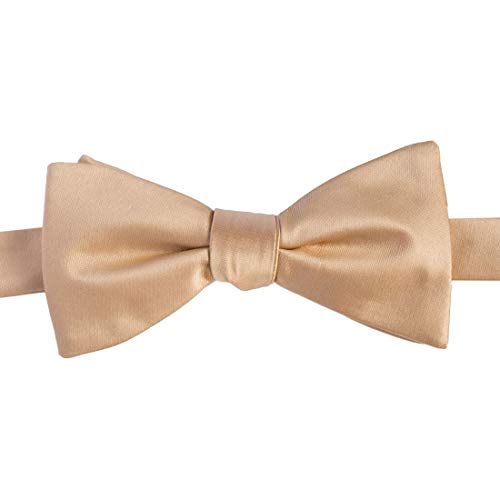 KissTies Gold Champagne Bow Ties Self Tied Satin Wedding Bowties + Gift Box ()