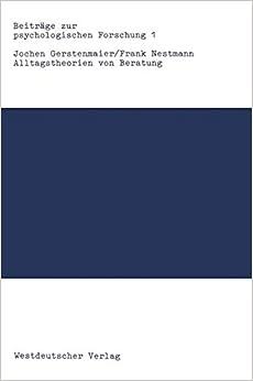 Book Alltagstheorien von Beratung (Beiträge zur psychologischen Forschung)