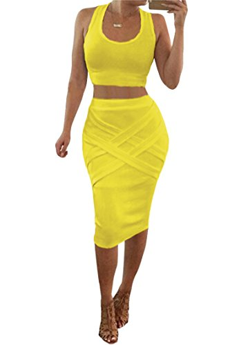 (Womens Crop Top Midi Skirt Outfit Two Piece Bodycon Bandage Dress Medium Yellow)