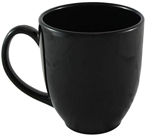 ITI Ceramic Bistro Coffee Mugs with Pan Scraper, 14 Ounce (4-Pack, Black)