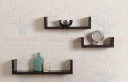 DECORASIA™ Beautiful U Shape Wooden Wall Shelf for Multi Purpose Utility MDF Wall Shelf