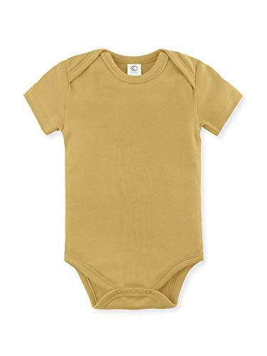 Colored Organics Unisex Baby Organic Cotton Bodysuit - Short Sleeve Infant Onesie - Tuscan Yellow - 6-12M ()