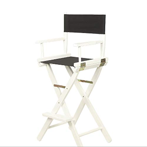 Vvlo Solid Wood Folding Chair/Outdoor Lounge Chair/Portable Director Chair/Breakfast Chair/Bar Chair/Backrest Makeup Stool/Computer Chair (Color : Black)