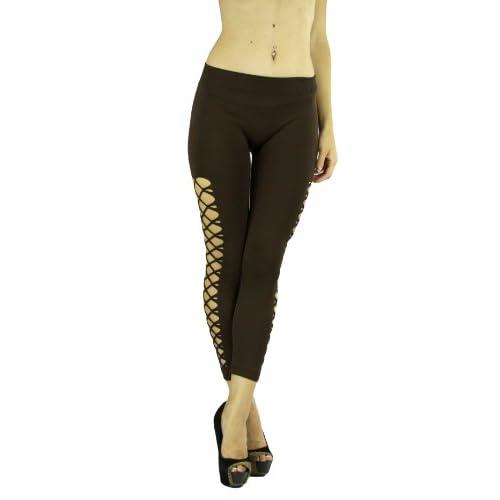 dd3043008de779 low-cost ToBeInStyle Women's Criss Cross Fishnet Sides Elastic Leggings