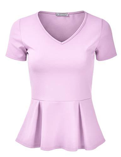 - EIMIN Women's Short Sleeve V-Neck Stretchy Flare Peplum Blouse Top Lavender 1XL