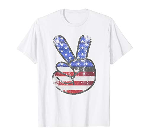 American Flag Shirt USA Vintage Peace Sign 4th of July ()