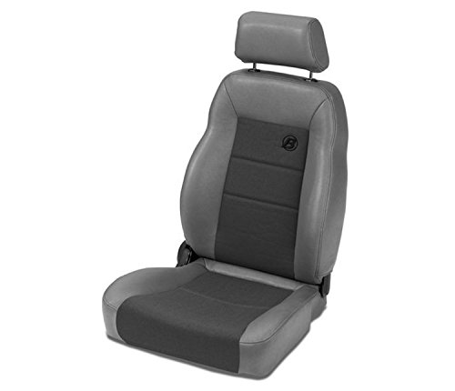 Bestop 39461-09 TrailMax II Pro Charcoal Front Vinyl with Fabric Insert High Back Driver-side Jeep Seat for 1976-2006 Jeep CJ and Wrangler ()