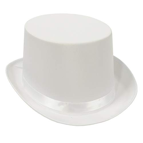 White Satin Deluxe Top Hat -