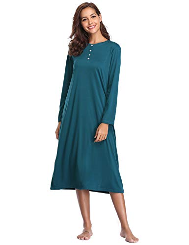 dcb7839f51 Lusofie Long Nightgowns for Women Long Sleeve Cotton Sleepwear Button-Front  Sleepshirt