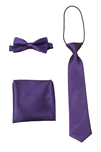(GUCHOL Bow Tie Pocket Cloth Necktie 3 Style Set Solid Adjustable Size Boys Collection)