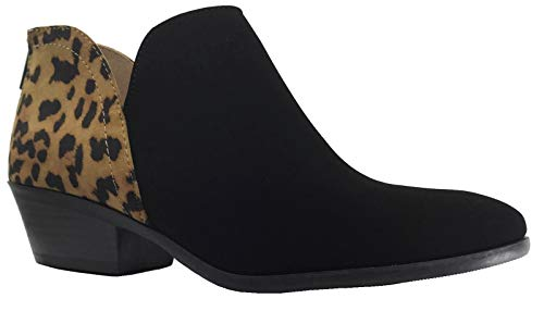 (Women's Ankle Bootie Side V Cut Low Chunky Stacked Heel, Cheetah Leopard, 9)