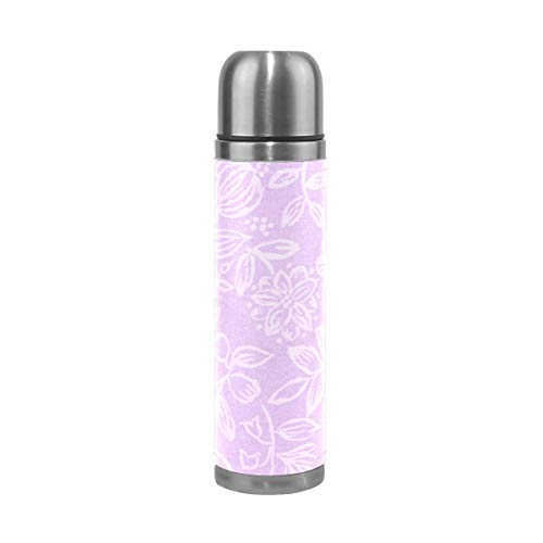 OuLian Water Bottle Lavender Fabric with Floral Pattern Sports Insulated Stainless Steel Water Bottles Leak Proof Double Wall Thermos Leather Cover 17 Oz (Stanley 24 Oz Utility Ss Water Bottle)