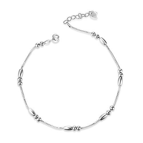 WINNICACA Anklets for Women Sterling Silver Bead Ankle Bracelets for Women Girls Gifts