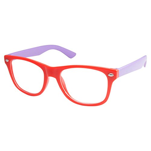 Kids Nerd Retro Two Color Frame Clear Lens