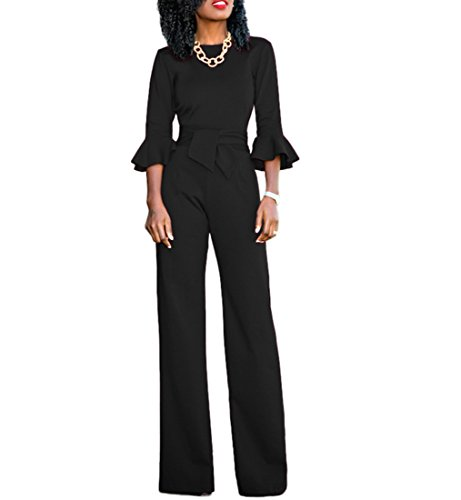 Chic-Lover Womens Solid Flare Sleeves Wide Leg Long Pants Jumpsuits Romper with Belt Black XL - Ladies Pant Suit