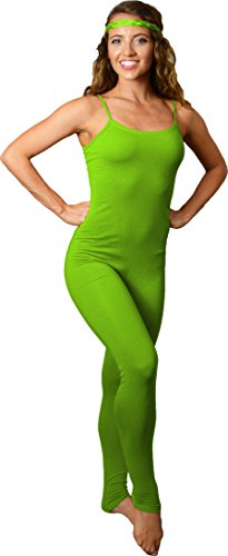 Stretch is Comfort Women's Camisole Unitard Dancewear Gymnastics Catsuit Spaghetti Strap Lime Green Large