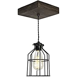 West Ninth Vintage Flushed Wood Pendant Farmhouse Fixture | w/Metal Cage Light