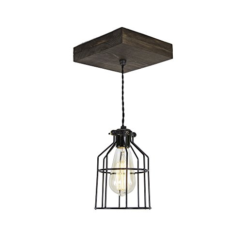 West Ninth Vintage Flushed Wood Pendant Farmhouse Fixture - Black Metal Cage - Jacobean Stain