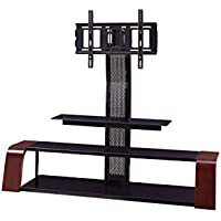 Sandberg Furniture Aria TV Stand with Swivel Mount, Merlot/Black