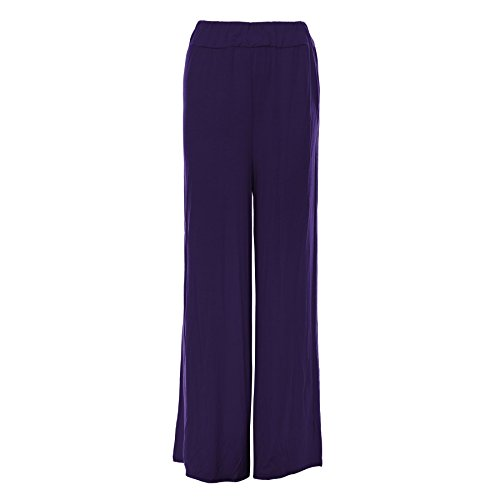 Oops Outlet -pantalons femmes Baggy Palazzo leggings taille grande - taille grande 52/54, violet - Girls Fashion Stylish Casual Jersey