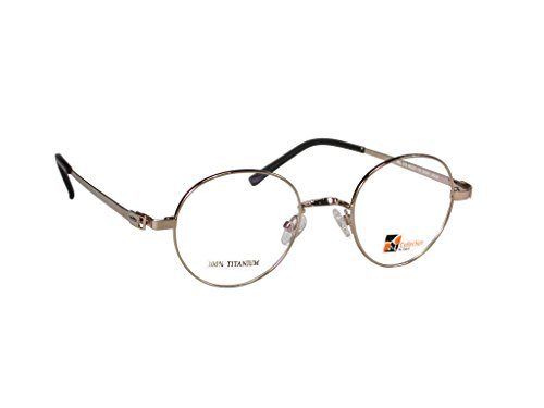 John Lennon Style Vintage Eyeglasses (Gold Shiny, - Eyeglass Discounted Frames