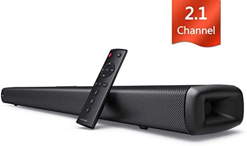 Sound bar for TV, Vinoil 2.1 Channel 35 Inch TV Soundbar with Built-in Subwoofer, 105 dB, Strong Bass, Optical AUX Coaxial Input, Wall Mountable, Surround Sound System for TV Home Theater
