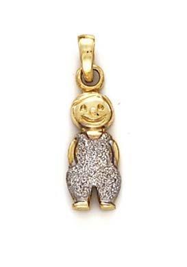 Laser 14 carats rhodié pendentif JewelryWeb-Garçon