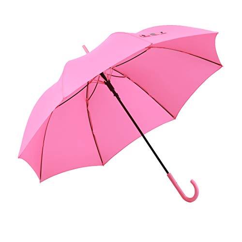 RUMBRELLA Pink Umbrella Auto Open with J Hook Handle, 50IN Stick Umbrellas Windproof