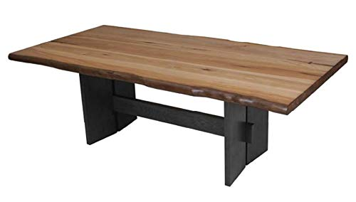 Marquette Live Edge Dining Table with Trestle Base Natural Honey and Charcoal - Set includes: One (1) dining table Materials: Mahogany, hickory veneer and MDF Finish Color: Natural honey and charcoal - kitchen-dining-room-furniture, kitchen-dining-room, kitchen-dining-room-tables - 31ZJfr7SUaL -