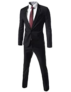 B00I3C7BX6 (BTS101) TheLees Slim Fit Single Breasted 1 Button Notched Lapel Dress Suit Set BLACK
