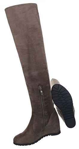 Damen Schuhe Stiefel Keil Wedges Overknee Olive