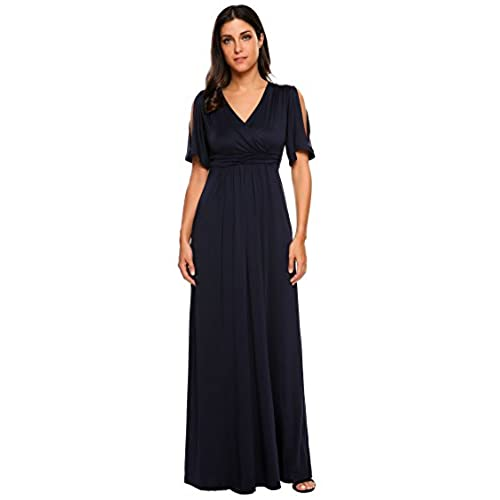 SE MIU Womens V-Neck Cold Shoulder Flare Sleeve Solid Pleated Evening Party Long Maxi Dress