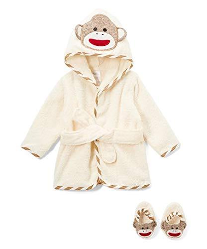 (Sock Monkey Hooded Bath Robe & Slipper Set (0-9 Months) )