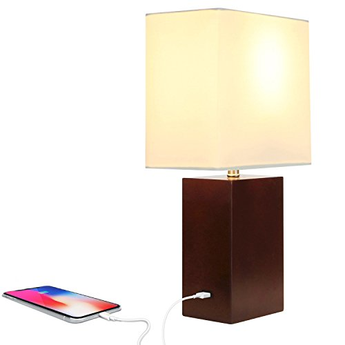 Brightech Mode LED USB Side Table & Desk Lamp – Modern Lamp for Bedroom, Living Room or Office with Ambient Lighting, Unique Lampshade & Useful USB Port Perfect Bedside Nightstand Light- Havana Brown (Port Framed)