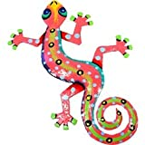 Global Crafts Eight Inch Pink Metal Gecko